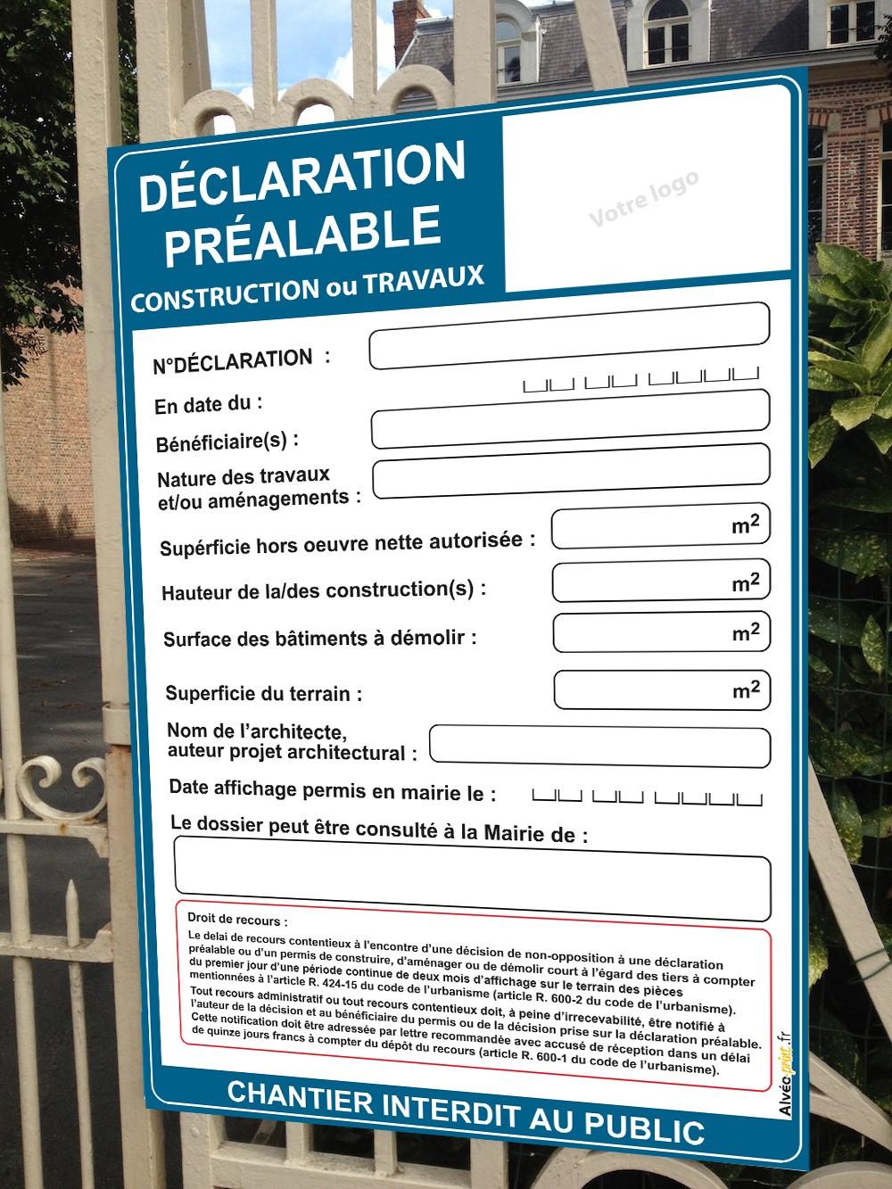 Alveo-print - Panneau déclaration préalable 80x120